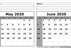 May To June 2020 Calendar