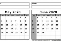 Printable Calendar May June 2020
