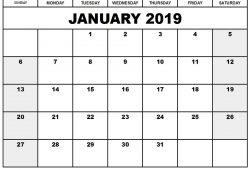2019 Calendar Blank Printable