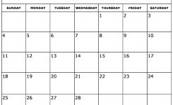 Blank February 2018 Calendar Printable
