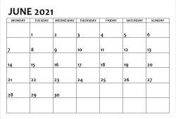 Blank June 2021 Calendar Printable