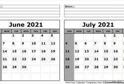 Blank June July 2021 Calendar Printable
