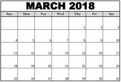 March 2018 Us Calendar Printable