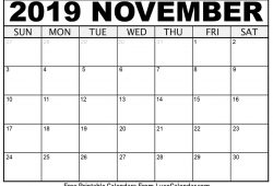 Calendar November 2019 Printable