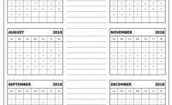 Blank Six Months July To December 2018 Calendar Template Printable