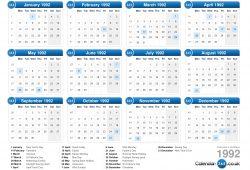 Calendar For 1992 Uk