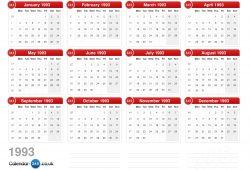 Calendar For 1993 Uk