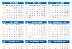 1999 Calendar Uk