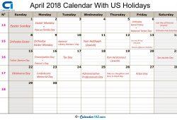 Calendar 2018 April Usa