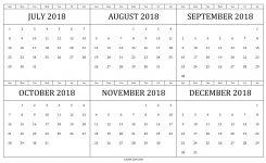 Calendar 2018 July To December Half Yearly Calendar 2018