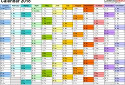 2018 Year Calendar Uk