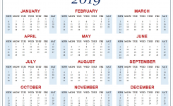 Calendar 2019 Template To Print Free Download Blank Pdf Template
