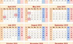 Calendar 2019 Uk With Bank Holidays Excelpdfword Templates