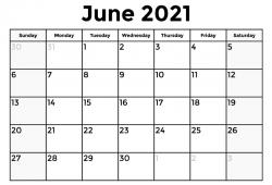 Calendar 2021 June Free