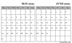 Calendar May June 2021 Image