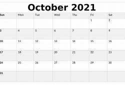 Calendar 2021 October Month