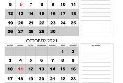 Calendar 2021 September October Month