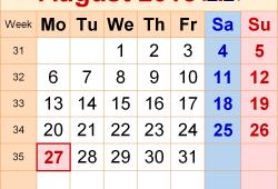 August 2018 Calendar Uk