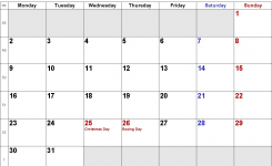 Calendar December 2019 Uk Bank Holidays Excelpdfword Templates