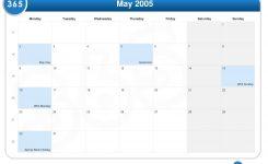 Calendar For May 2005 Uk Jill Davis Design