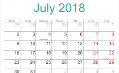 Calendar July 2018 Printable Holidays Full Calendar July 2018