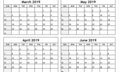 Calendar March To June 2019 Printable All 12 Month Calendar Printable