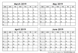 March To June 2019 Calendar Printable