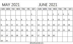 Calendar May June 2021 Print