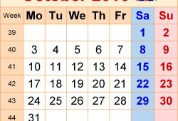 Calendar 2007 October Uk