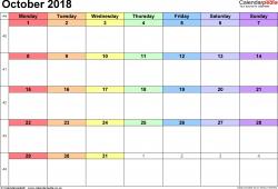 2018 Calendar October Uk