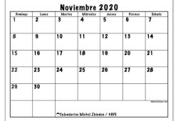 Calendario Mensual Noviembre 2020