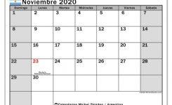 Calendario Noviembre 2020 Argentina Michel Zbinden Es