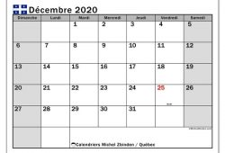 Calendrier Decembre 2020 A Imprimer