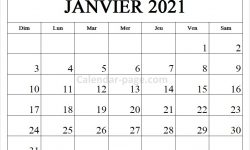 Janvier 2021 Calendrier