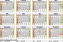 Calendar 2020 Canada Holidays