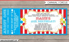 Carnival Party Ticket Invitation Template Editable And Printable