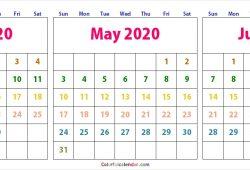April May June Calendar 2020