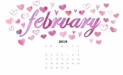 Cute February 2019 Desktop Calendar Wallpaper Free Printable
