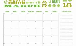 Cute March Calendar 2018 Printable Calendar Template