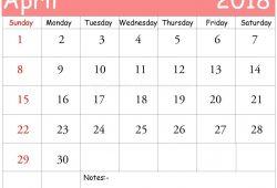 April 2018 Calendar Xls