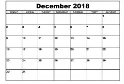 December 2018 Calendar Document