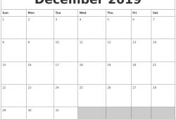 December Blank Printable Calendar 2019
