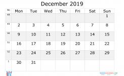 December 2019 Calendar With Week Numbers Printable Start Monday