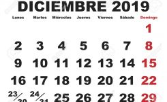 December Month In A Year 2019 Wall Calendar In Spanish Diciembre
