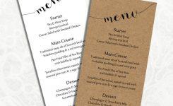 Digital Diy Editable Wedding Menu Template Printable Microsoft