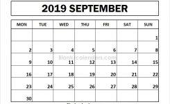 Download Editable September 2019 Calendar Monday Start Images