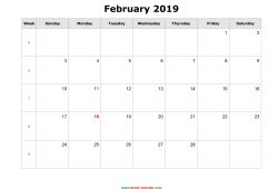 printable calendar february 2019