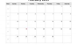 Download February 2019 Blank Calendar Horizontal