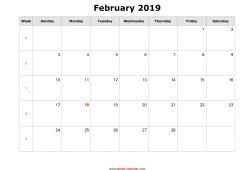 2019 Free Printable February Calendar