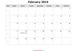 February 2019 Calendar Holidays